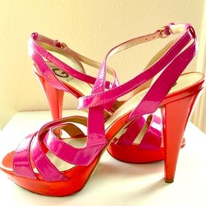 Hot Pink & Red Strappy Heels